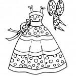 דף צביעה שמלה קיצית בהדפס נקודות