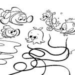דף צביעה ברדג ודוגי פוגשים בדגים נוספים