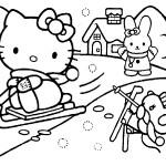 דף צביעה קיטי גולשת בשלג