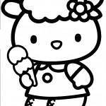 דף צביעה קיטי אוכלת גביע גלידה