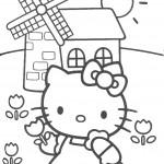דף צביעה קיטי ליד טחנת רוח