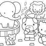 דף צביעה קיטי וחברים בקרקס