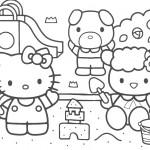 דף צביעה קיטי וחברים משחקים בארגז חול