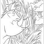 דף צביעה פומה וטימון מציצים מבעד לשיחים