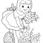 דף צביעה כיפה אדומה קוטפת פרחים לסבתה