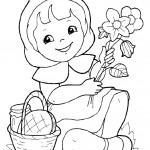 דף צביעה כיפה אדומה עם סלסילה ופרחים