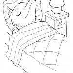 דף צביעה הזאב ישן במיטתה של סבתא