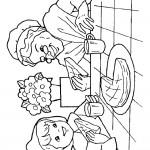 כיפה אדומה וסבתא אוכלות עוגה ושותות תה