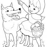 דף צביעה כיפה אדומה מראה לזאב את הדרך