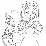 דף צביעה כיפה אדומה והמכשפה