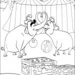 דף צביעה הפילים משתעשעים בהופעה
