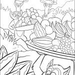 דף צביעה הלמורים סוחבים צלחות פרי