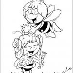דף צביעה הדבורה מאיה מכתירה את חברתה