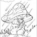 דף צביעה החרגול מסתתר מפני הגשם