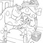דף צביעה סאליוון מחזיר את פו למיטתה