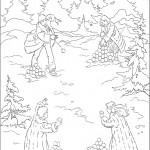 דף צביעה צאצאי פבנסי משחקים בשלג