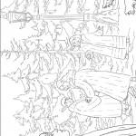 דף צביעה המכשפה הלבנה ביער הקסום