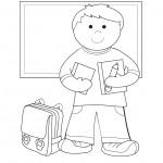 דף צביעה ילד עומד מול הלוח