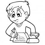 דף צביעה ילד כותב במחברת