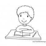 דף צביעה ילד מקשיב בכיתה