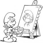 דף צביעה דרדס מצייר דמות דרדס