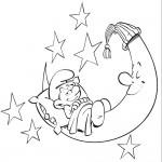 דף צביעה ישנוני ישן על הירח