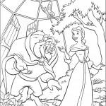 דף צביעה בל והחיה מטיילים בחצר
