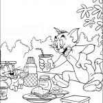 דף צביעה טום וג'רי אוכלים ארוחת בוקר