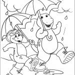 דף צביעה ברני ובי ג'יי הולכים ביום גשום