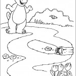 דף צביעה ברני צופה בשושנת מים