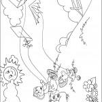 דף צביעה ברני וחברים מעיפים עפיפונים