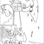 דף צביעה ברני וחבריו משחקים בייסבול