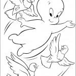דף צביעה קספר עף עם יונים בשמיים