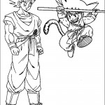 דף צביעה גוקו הילד הקופץ עם הזנב וגוקו הבוגר