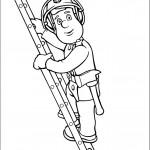 דף צביעה סמי הכבאי מטפס על סולם