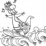 דף צביעה דינו שומע מוזיקה תוך כדי גלישה בים