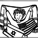 דף צביעה ילד עם טלית ודגלי ארה