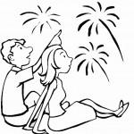 דף צביעה ילדים צופים בזיקוקים