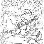 דף צביעה קרמיט הצפרדע מנגן במנדולינה