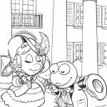דף צביעה קרמיט ומיס פיגי יוצאים לבלות