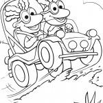 דף צביעה החבובות נוסעות במכונית