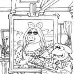 דף צביעה קרמיט מצייר דיוקן של מיס פיגי