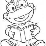 דף צביעה הצפרדע קוראת בספר