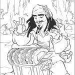 דף צביעה קפטן ג'ק ספארו ותיבת האוצרות