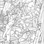 דף צביעה קרבות שודדים על סיפון האוניה