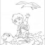 דף צביעה דייגו רוכב על צב ים