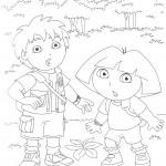 דף צביעה דייגו ודורה ביער הגשם