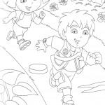 דף צביעה דייגו ודורה רצים בשביל