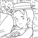דף צביעה אן נוסעת בכרכרה