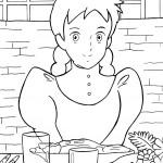 דף צביעה אן אוכלת את ארוחת הבוקר